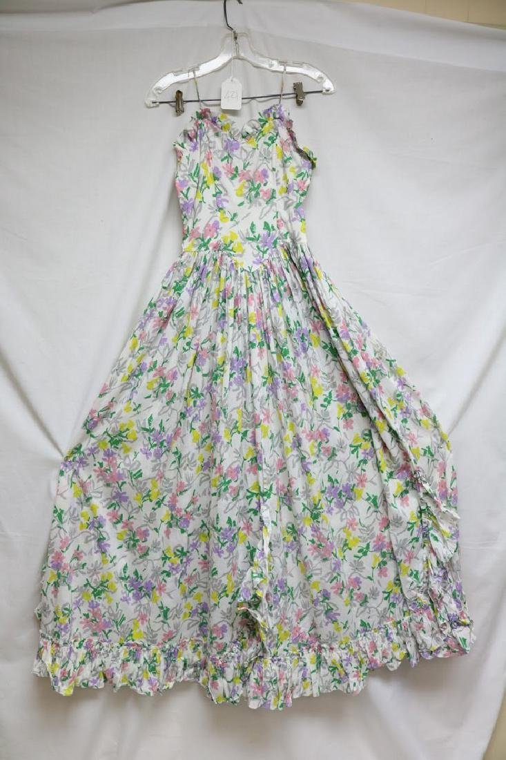 1940s floral cotton maxi dress