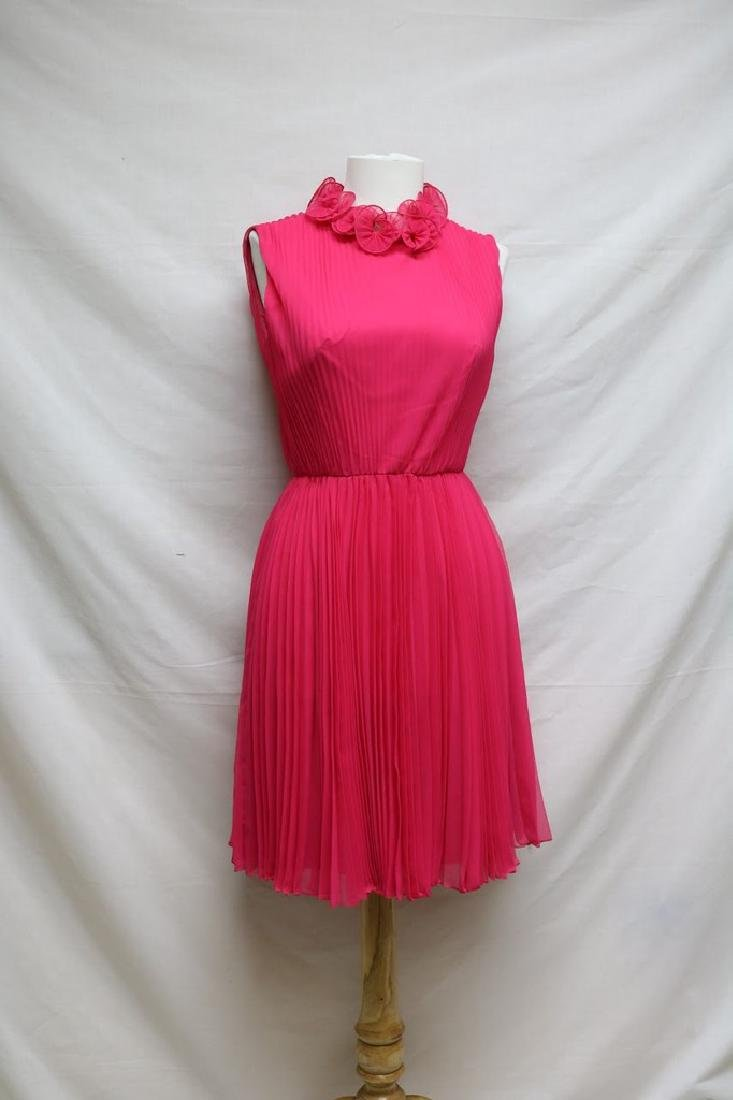 1960s chiffon pleated party dress