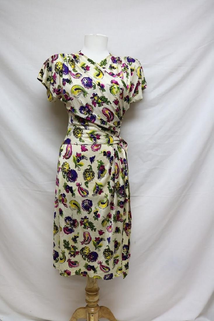 1940s paisley rayon jersey dress