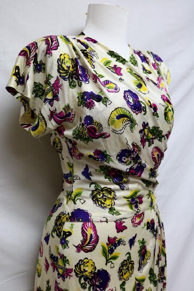 1940s paisley rayon jersey dress - 2