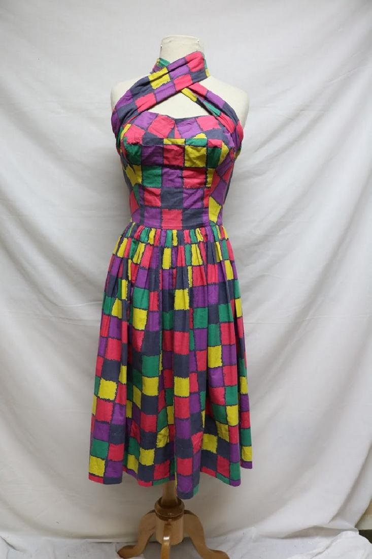 1950s checkered halter dress