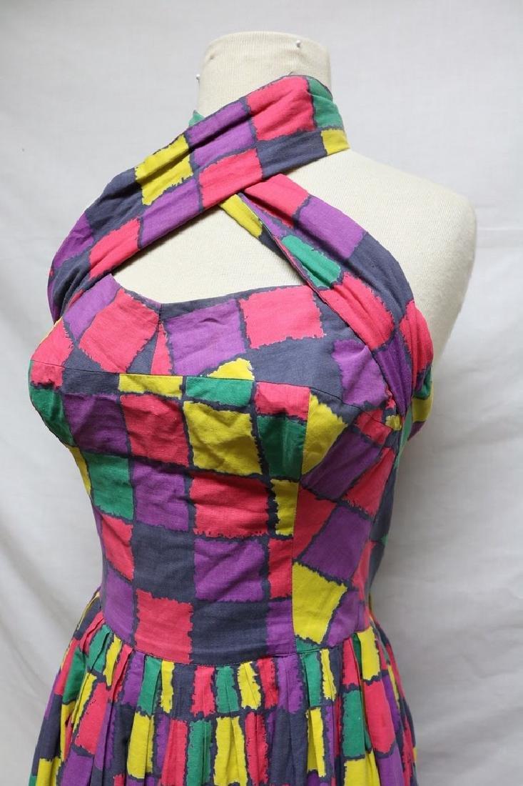 1950s checkered halter dress - 2