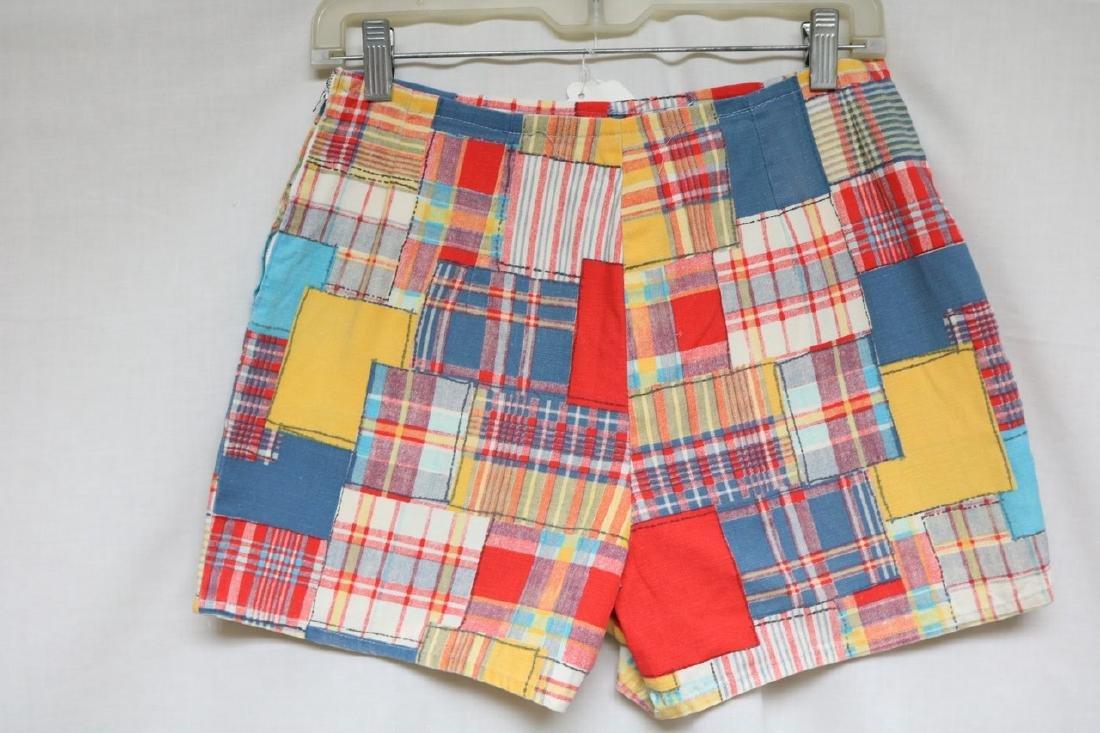 1960s patch plaid cotton shorts