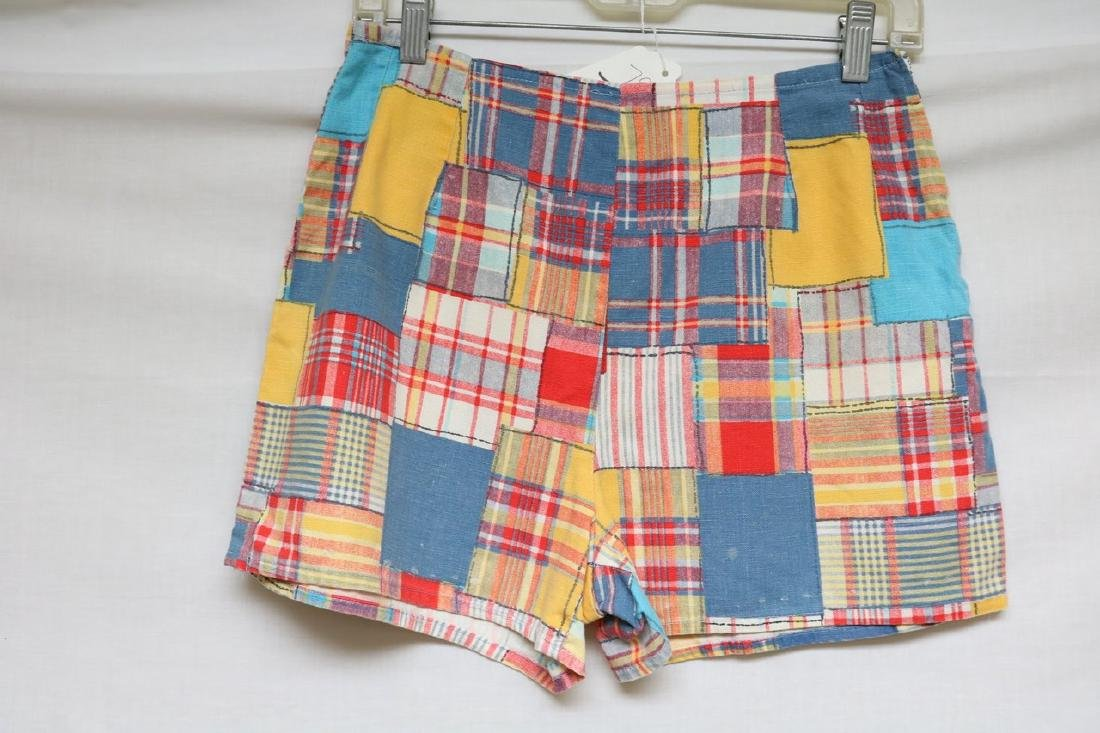 1960s patch plaid cotton shorts - 3