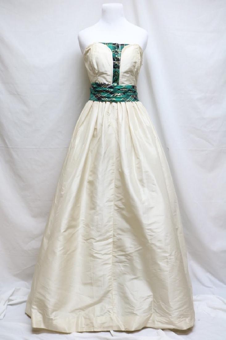 1950s silk & plaid evening gown
