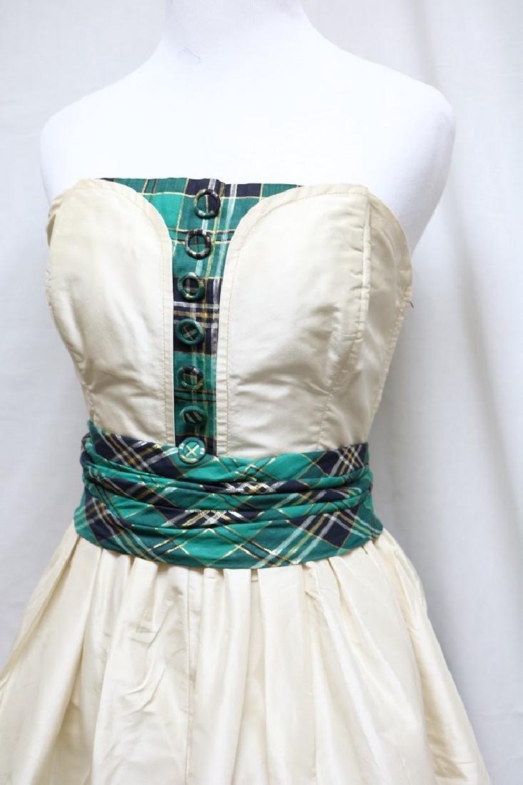 1950s silk & plaid evening gown - 2