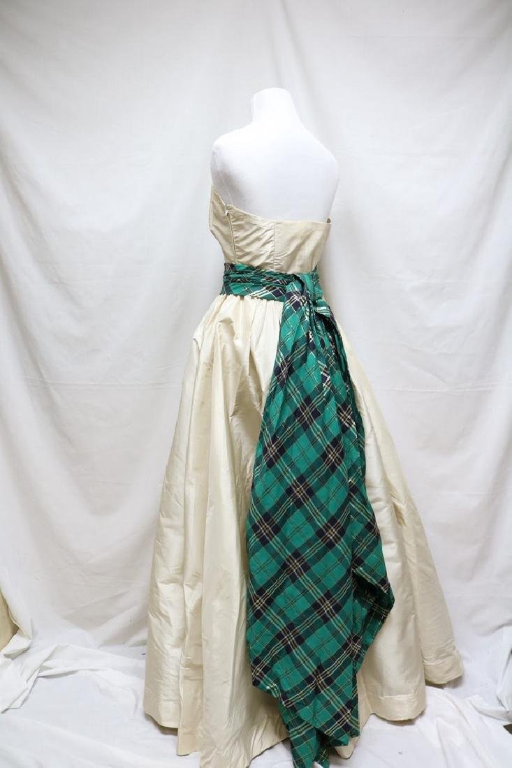 1950s silk & plaid evening gown - 3