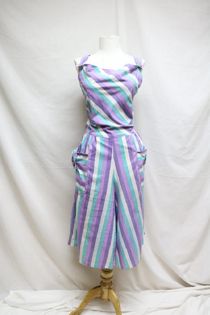 1940s striped cropped overalls