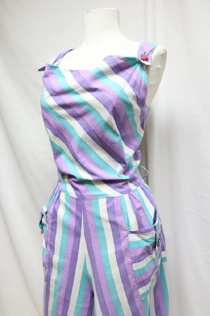 1940s striped cropped overalls - 2