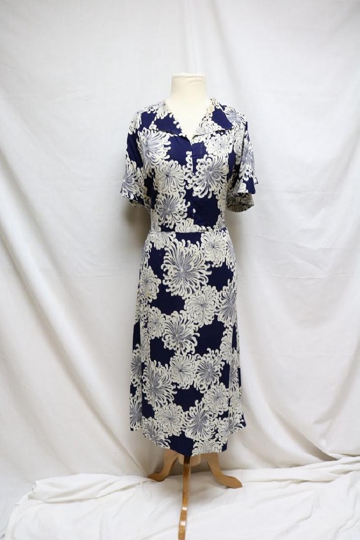 1930s linen floral dress