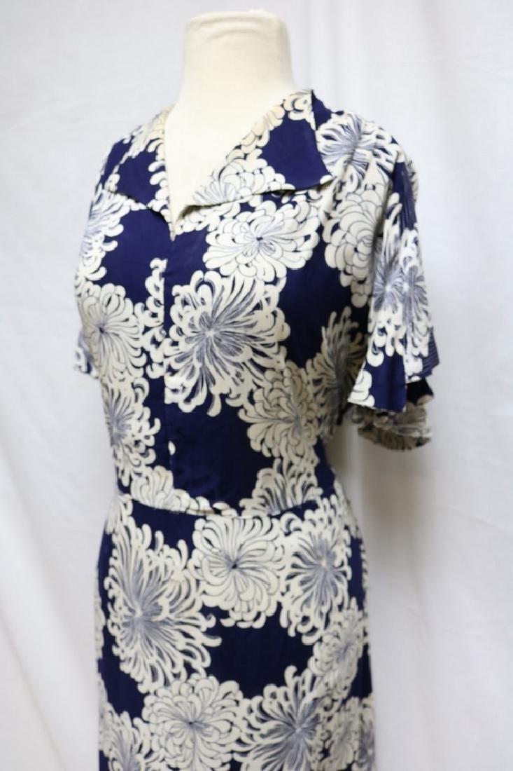 1930s linen floral dress - 2