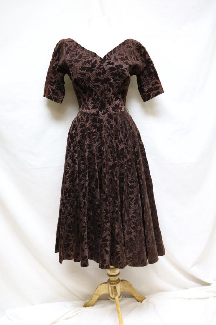 1950s embroidered velvet dress