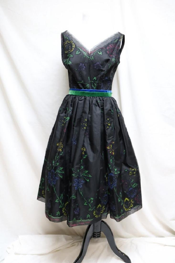 1950s floral flocked party dress