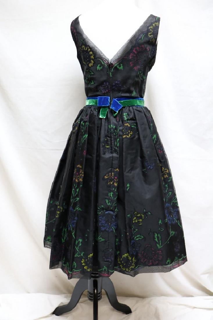 1950s floral flocked party dress - 3