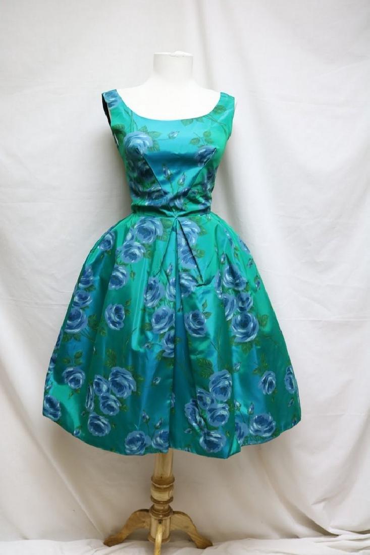 1960s teal rose print dress