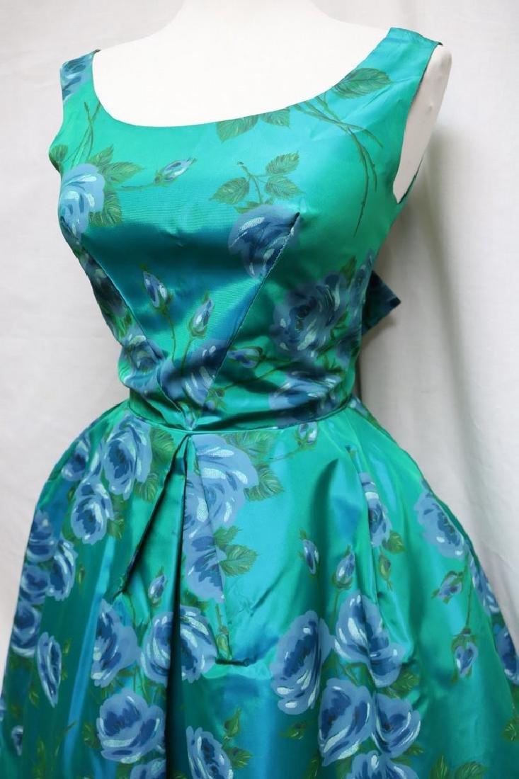 1960s teal rose print dress - 2