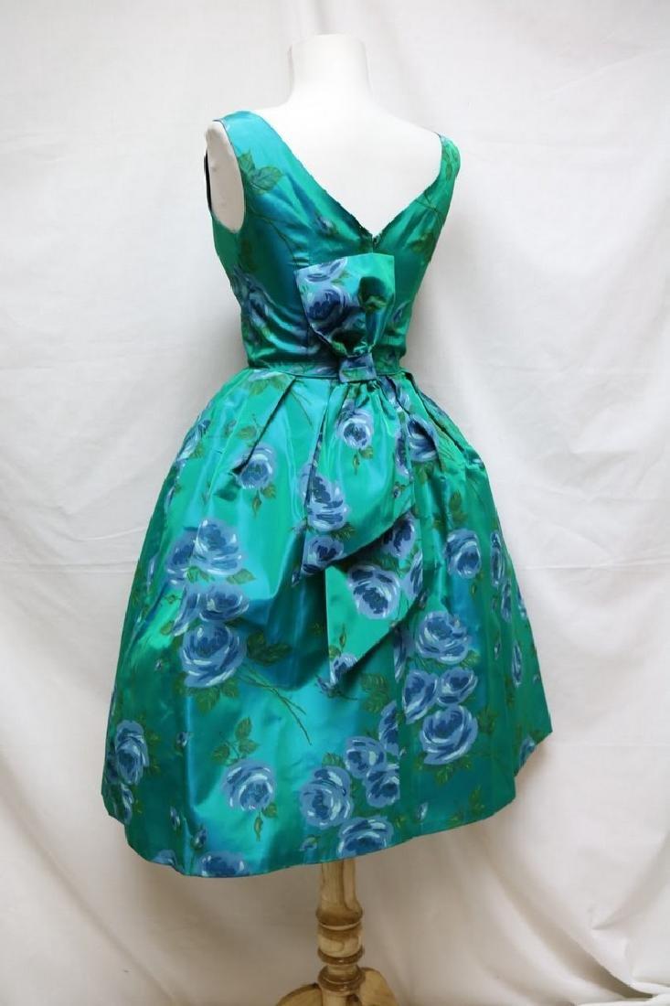 1960s teal rose print dress - 3