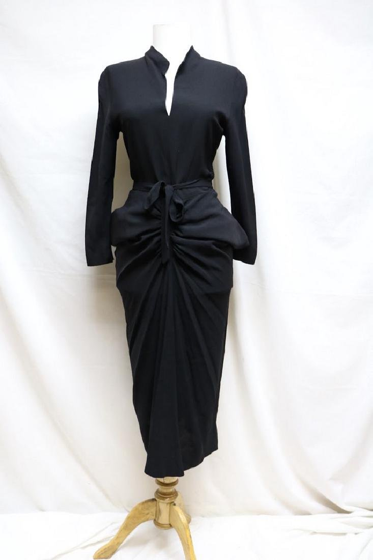 1940s slinky black rayon dress
