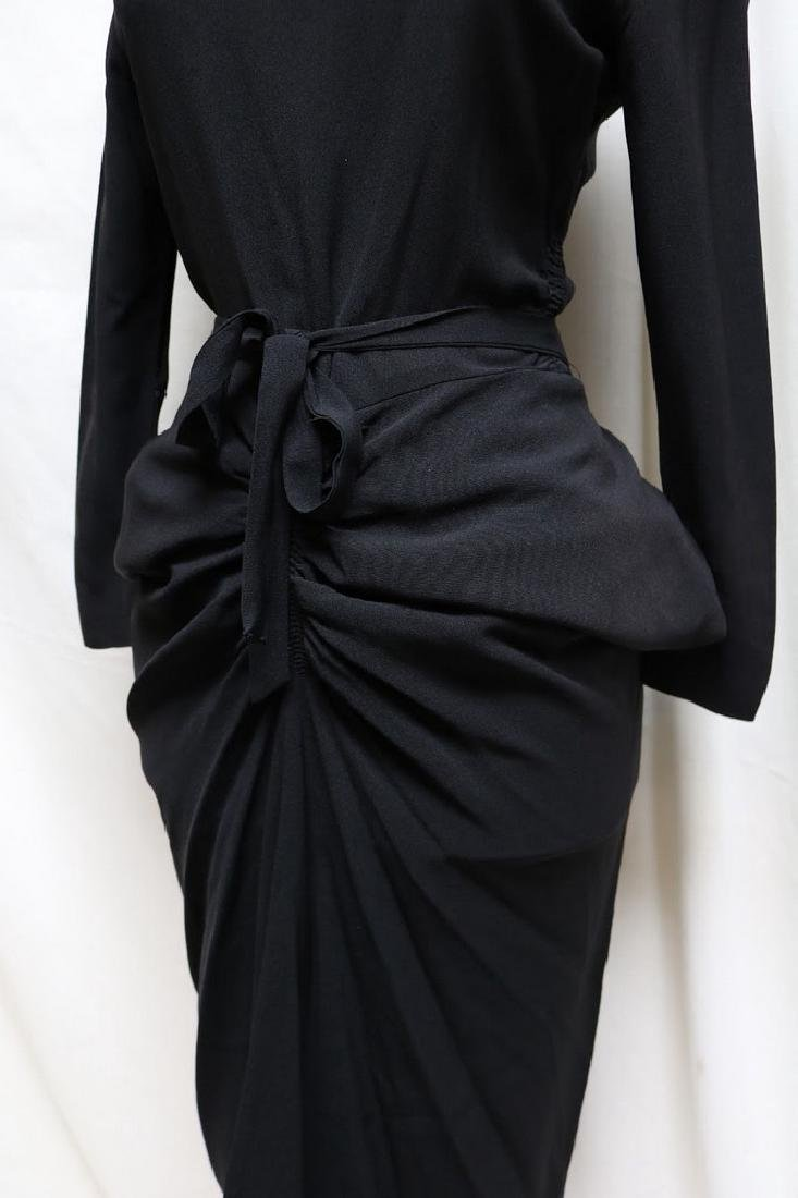 1940s slinky black rayon dress - 2