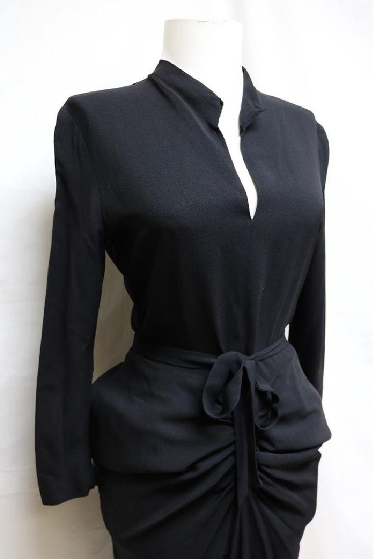 1940s slinky black rayon dress - 3