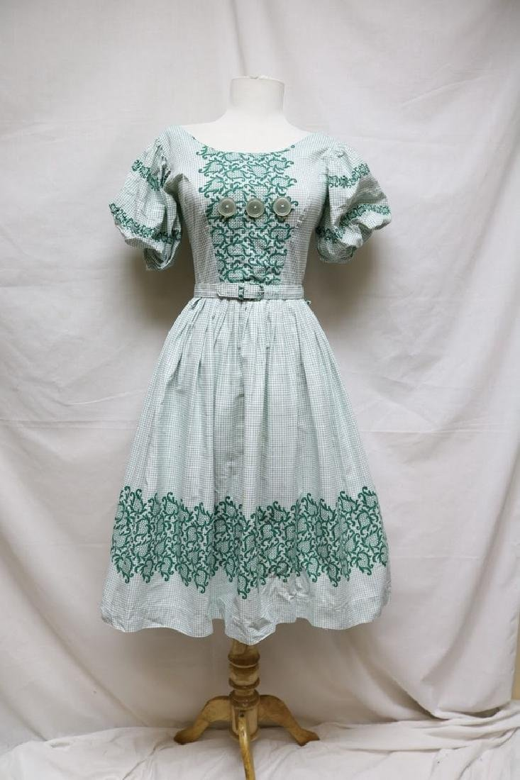 1940s grid & floral dress