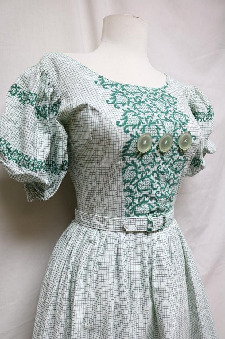 1940s grid & floral dress - 2