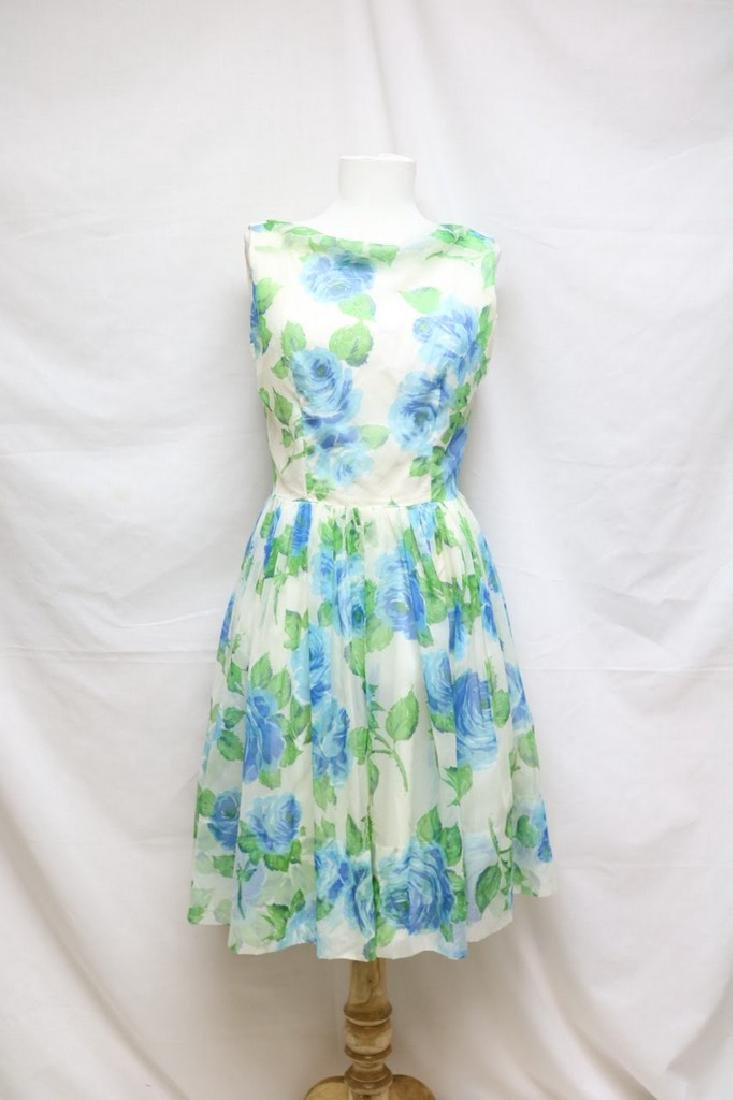 1960s blue rose chiffon dress