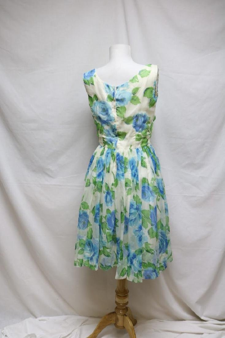 1960s blue rose chiffon dress - 3