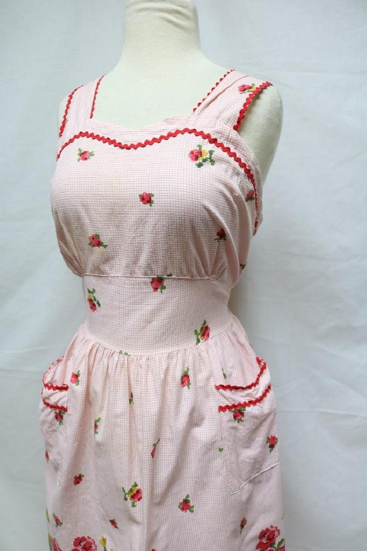 1950s cross stitch print dress - 3
