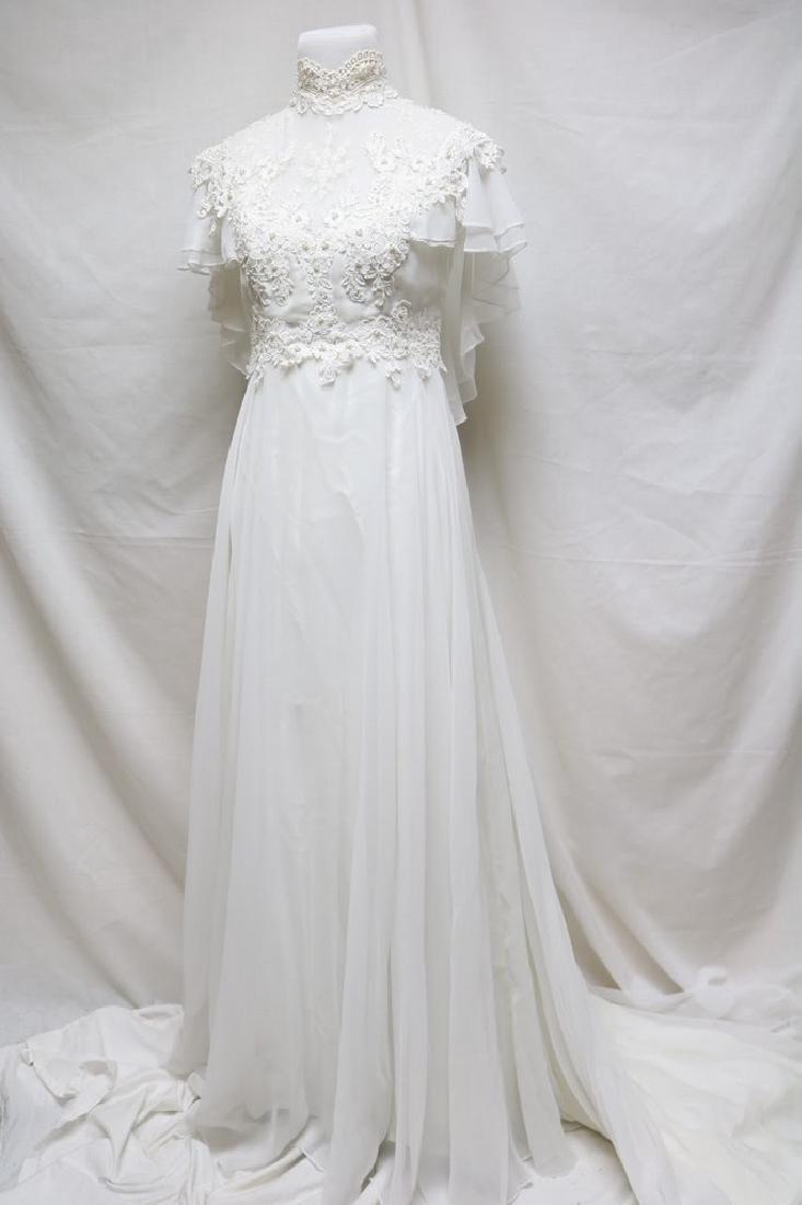 1980s chiffon & lace wedding gown