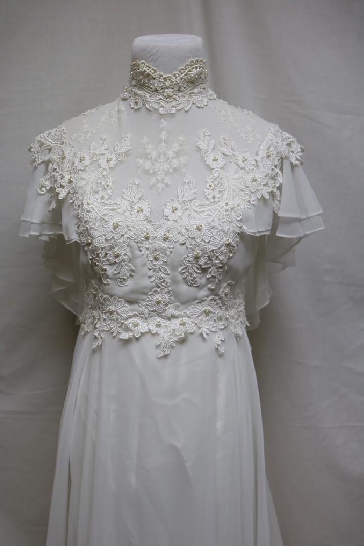 1980s chiffon & lace wedding gown - 2