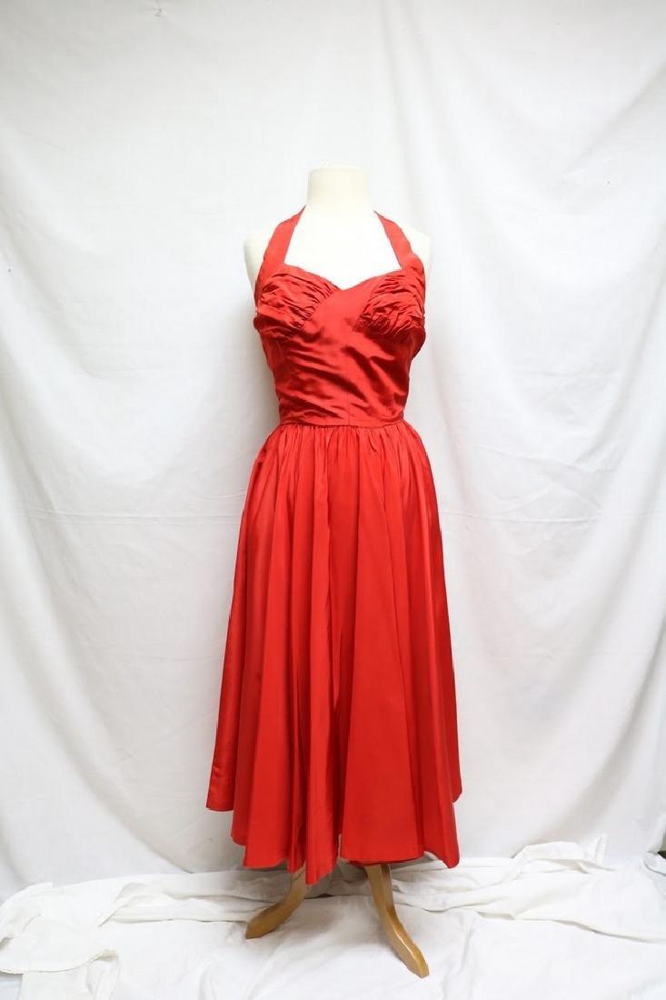 1950s red halter dress