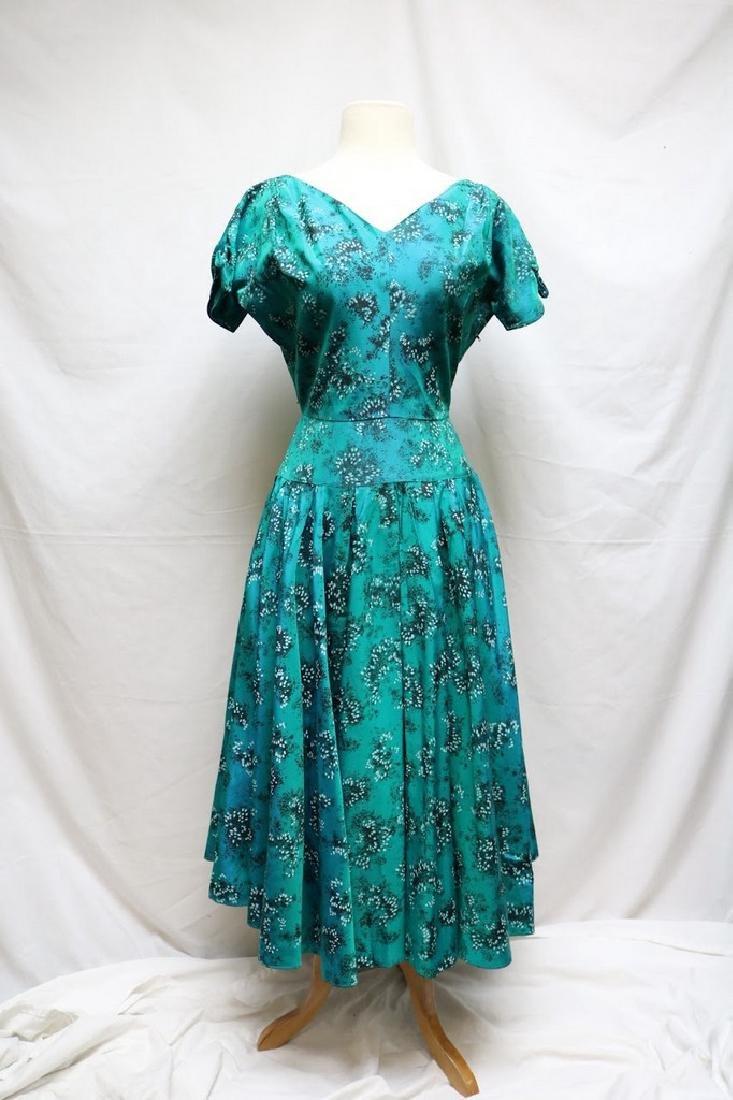 1950s teal printed taffeta dress