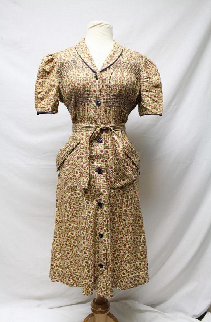 1940s printed cotton house dress
