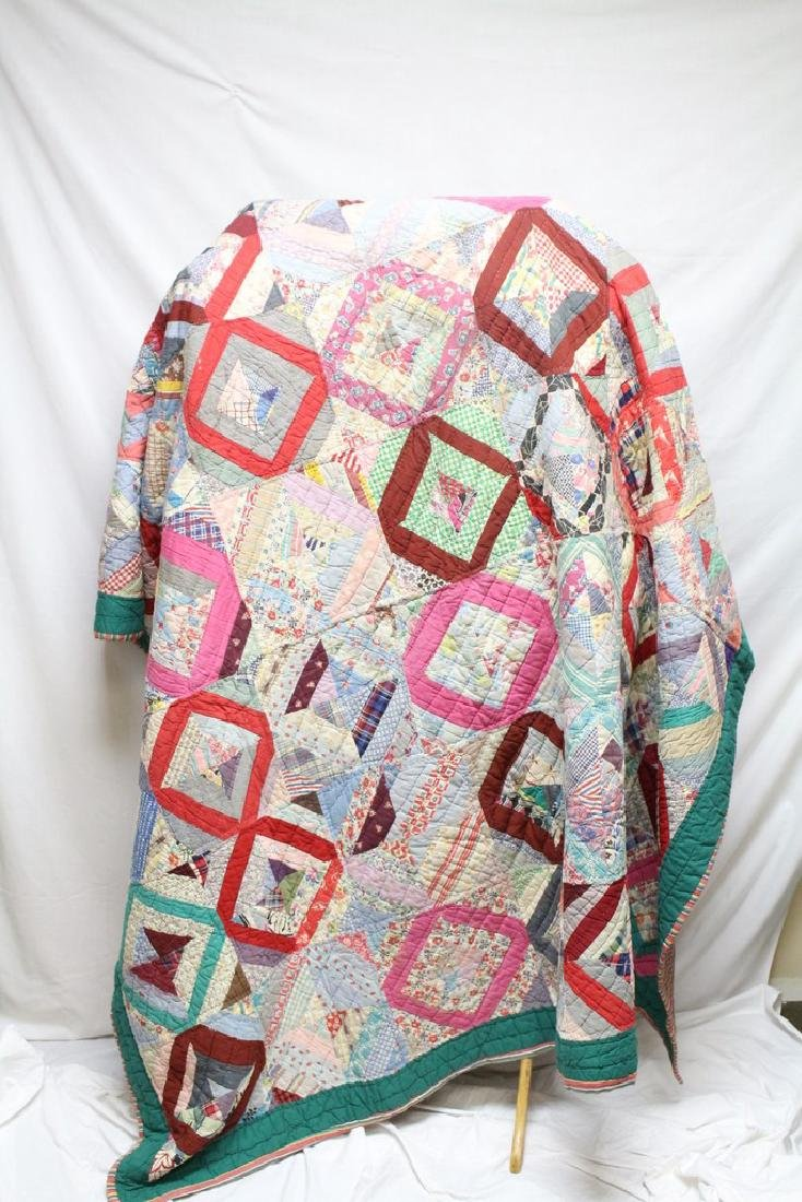 1930s Handstitched Quilt with Feedsack fabric