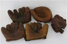 5 Vintage Baseball Gloves, one Rare Glove