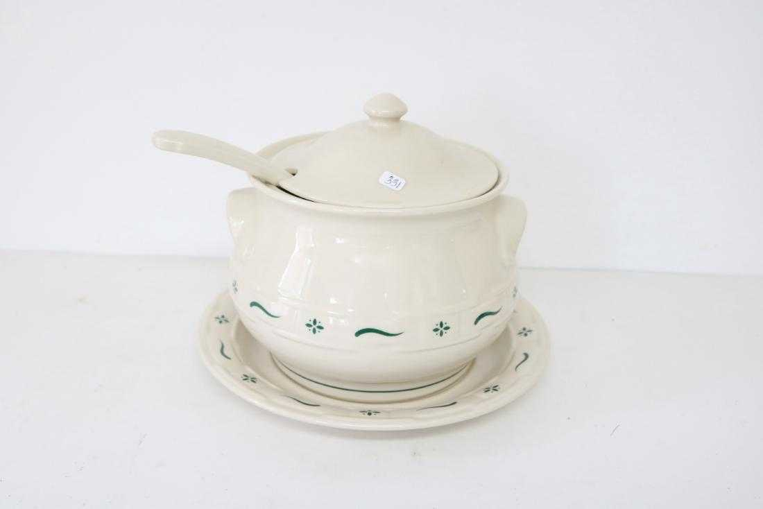 Longaberger Pottery Soup Tureen with under plate &