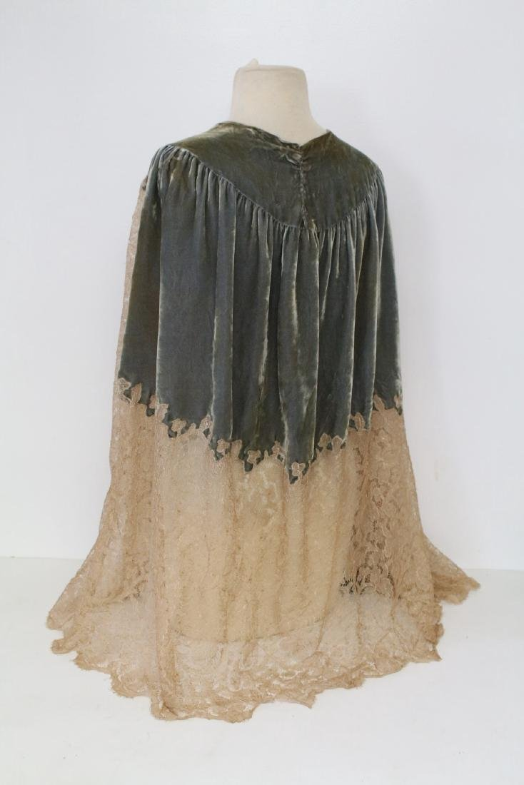 1920s Silk Velvet & Lace Cape