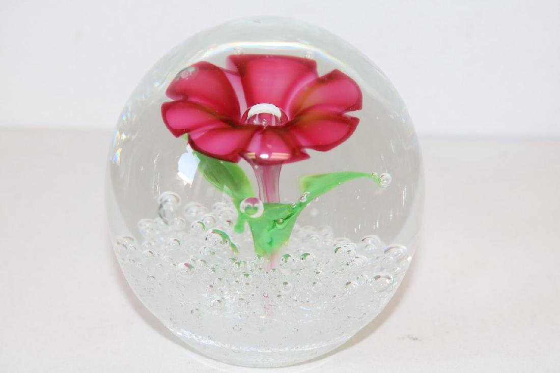 Art Glass Floral Paper Weight