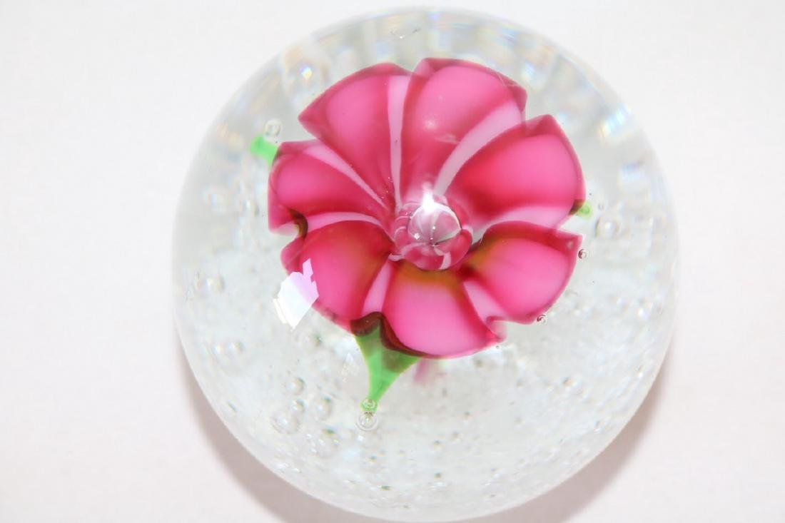 Art Glass Floral Paper Weight - 3