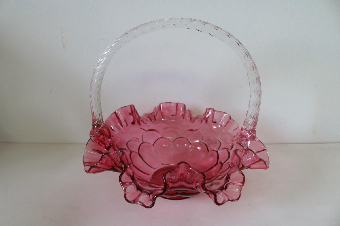 Fenton Brides Basket in Cranberry Glass with Ruffled