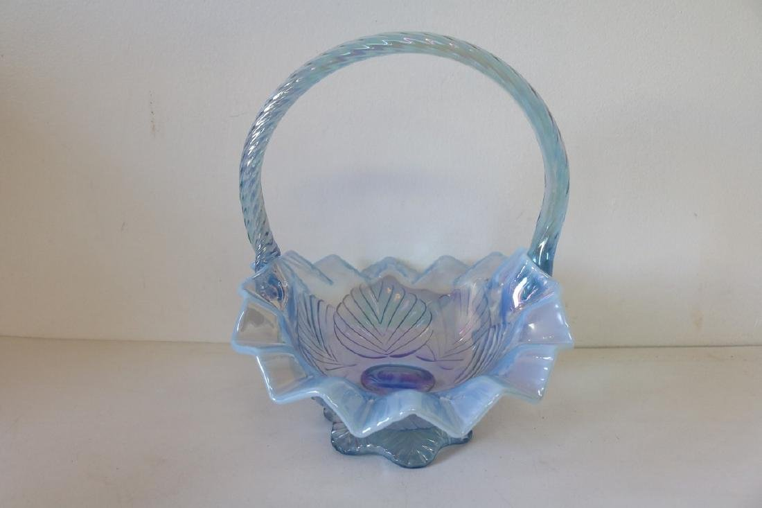 Fenton Brides Basket in Opalescent Blue - 3