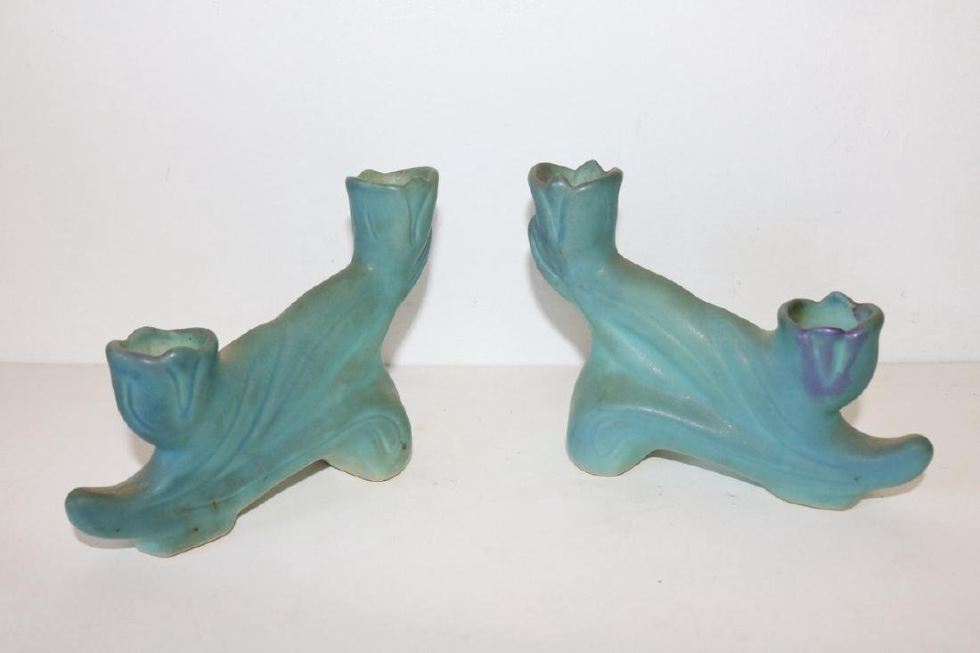 Pair Van Briggle double Tulip Candle Holders in - 2