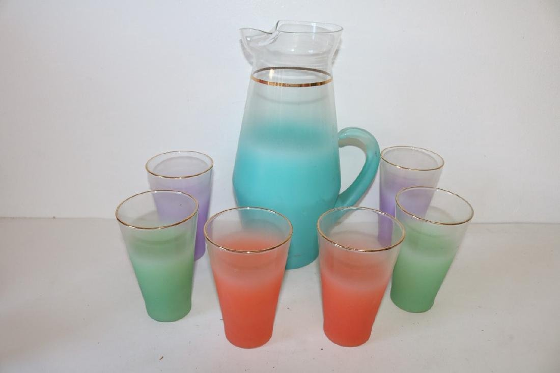 West Virginia Glass Co. Pitcher & 6 Glasses, Lemonade