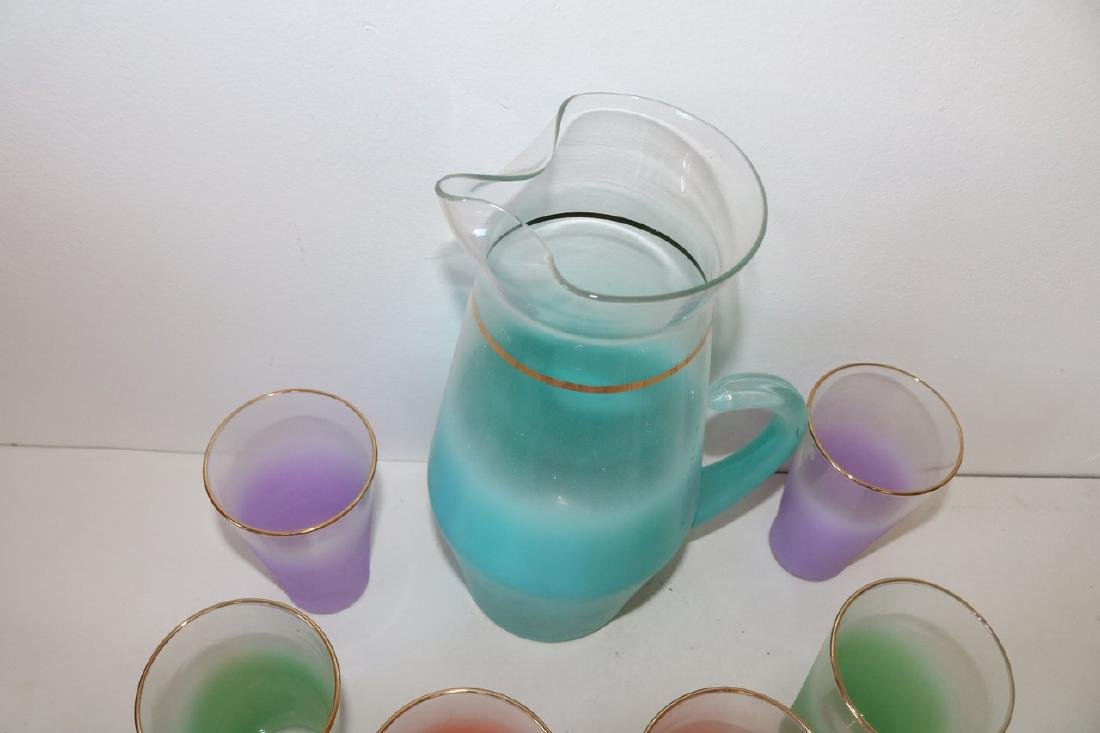 West Virginia Glass Co. Pitcher & 6 Glasses, Lemonade - 2
