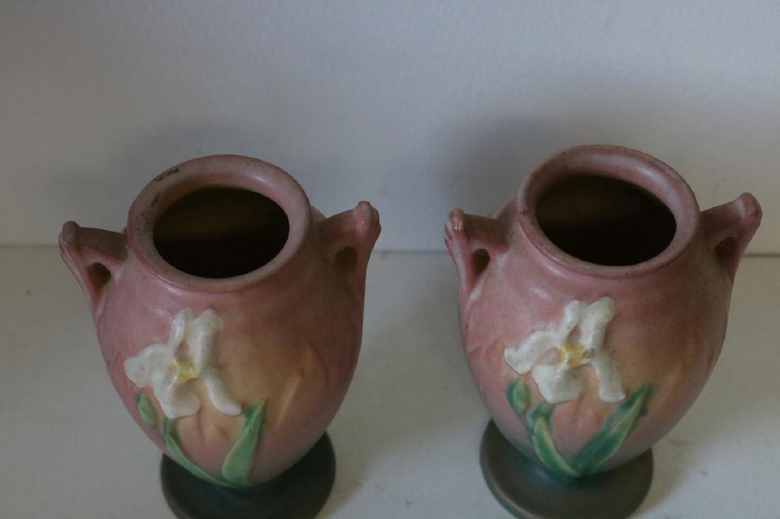 pair Roseville Iris double handle Vases - 2