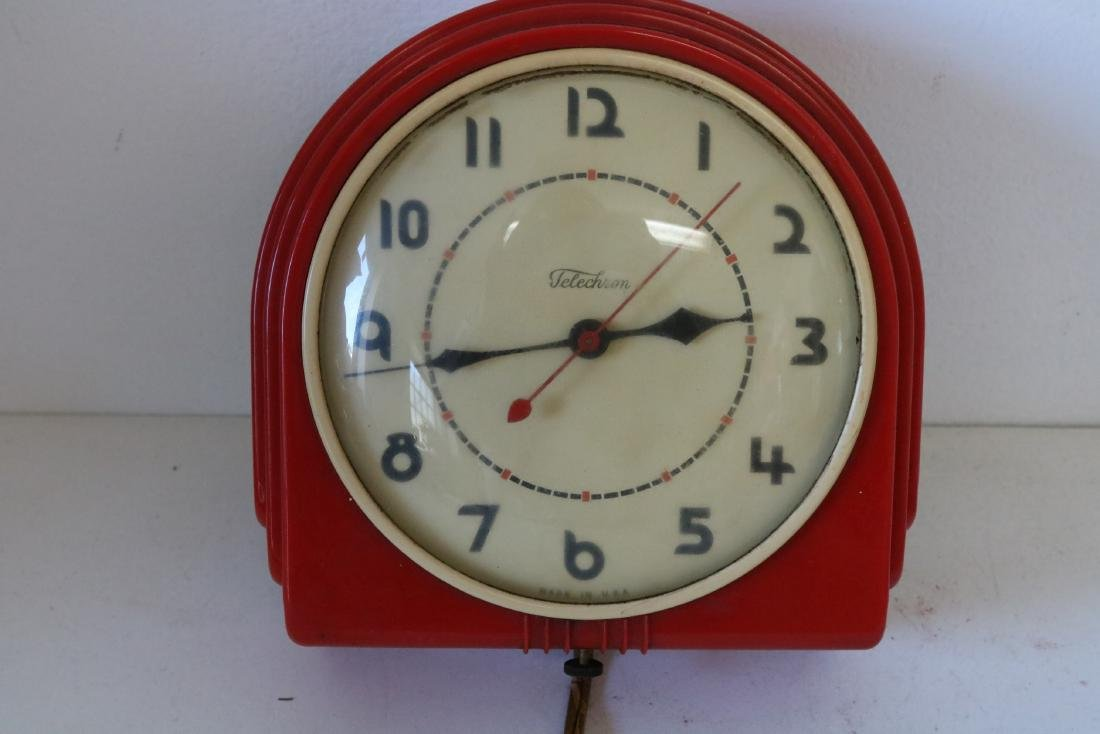 1950's Telechron Wall Clock in Red