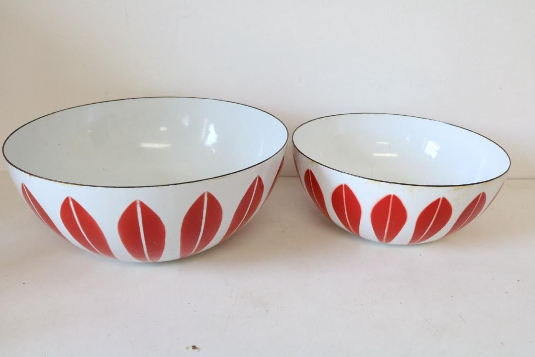 Cathrineholm Red & White Enamel Ware Nesting Bowls