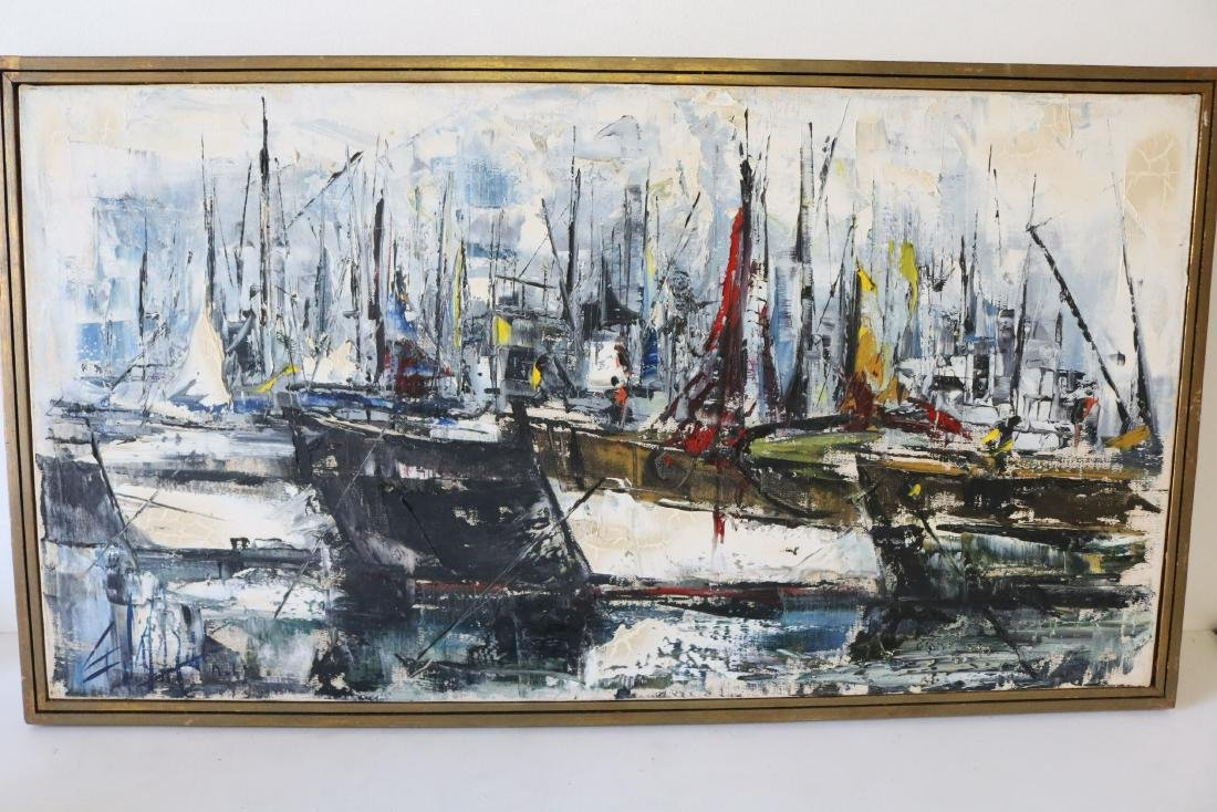 1963 Abstract Oil on Canvas Harbor Scene, signed
