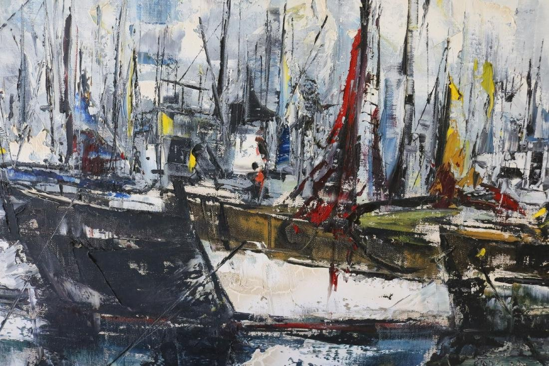 1963 Abstract Oil on Canvas Harbor Scene, signed - 2